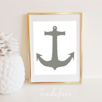 Anchor Print, Nautical, Herringbone Pattern, Instant Digital Download, Gallery Wall Display Decor, Frame, Wall Hanging, Black, 8x10, Nursery