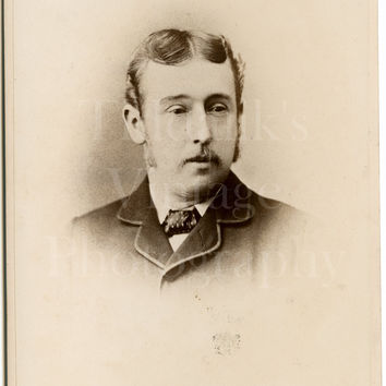 Cabinet Card Photo Victorian Dapper Young Mustached Handsome Man Portrait - L & L Morris of Oswestry Shropshire - Antique Photograph