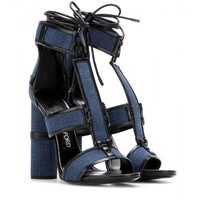 Patchwork denim and leather sandals