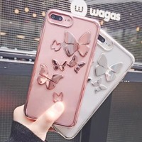 For iPhone 8 Plus Case Newest Fashion Women 3D Butterfly Plating Case For Apple iPhone 8 For iPhone8 Plus Clear Crystal Cover