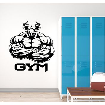 Vinyl Wall Decal Home Gym Logo Bull Muscles Bodybuilder Stickers (3189ig)