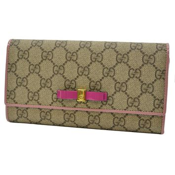 One-nice™ GUCCI Auth 388679 0959 Bifold Wallet GG Beige Pink Ladies FS Excellent #1209