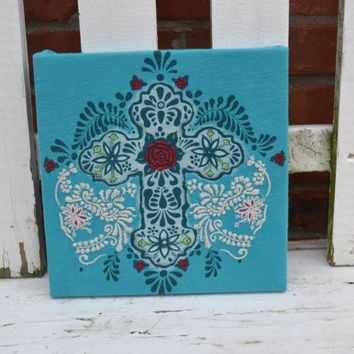 Cross Canvas upcycled home decor aqua cross bright housewares unique home decor