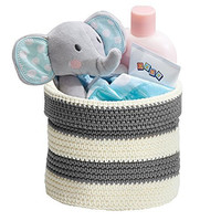 mDesign Knit Baby Nursery Closet Organizer, Bin for Lotion, Medicine, Bibs, Books, Toys - Small, Gray/Ivory