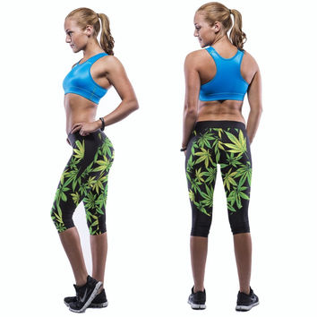 Women legging weed hemp leaf print galaxy leggings elastic stretchy leggings fit
