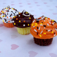 Halloween/Fall colors polymer clay cupcake charm trio