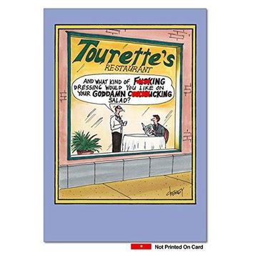Tourettes Restaurant Unique Funny Birthday Card with Envelope - Free Shipping