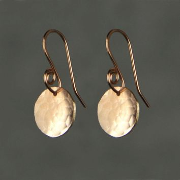 14k rose gold filled simple disc textured hammered drop earrings Bridesmaid gifts Free US Shipping handmade Anni designs