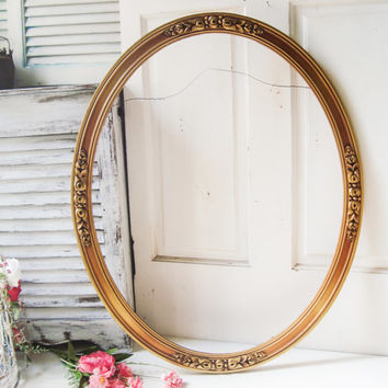 large vintage oval gold ornate frame oval open frame big round frame thin