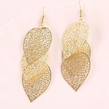 New Hot Jewelry Womens Elegant Bohemian Ear Hook Hollow Leaves Dangle Earrings (Color: Gold) = 1928375812