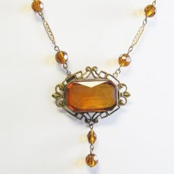 Antique Czechoslovakian Amber Art Glass Necklace