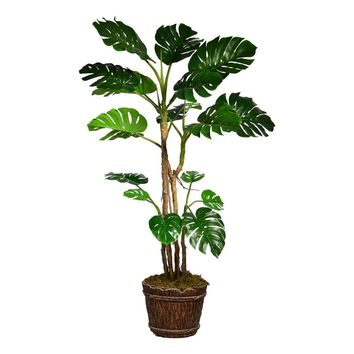 "80"" Artificial Monstera with Burlap Kit in 16"" Wood Trunk Planter in Brown/ Black Fiberstone"