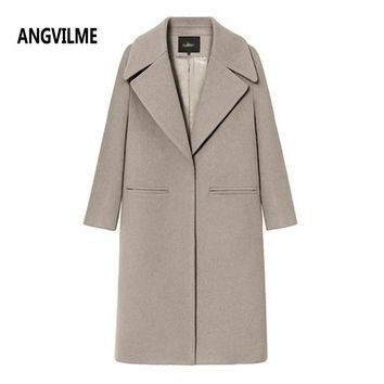 ANGVILME High Quality Women Woolen coat With Quilting Long Winter Woolen coats 3 colors Fashion Casual Wool Peacoats Plus size