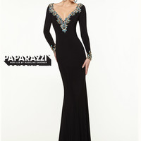 V-neck With Long Sleeves Jersey Paparazzi Prom Dress By Mori Lee 97121