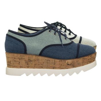 Skyhigh11 90s Platform Oxford Sneaker w Cork & White Threaded Saw tooth Lug Sole