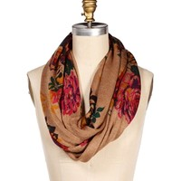 Taupe Floral Infinity Scarf
