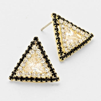 Triangle Black & Gold Earring