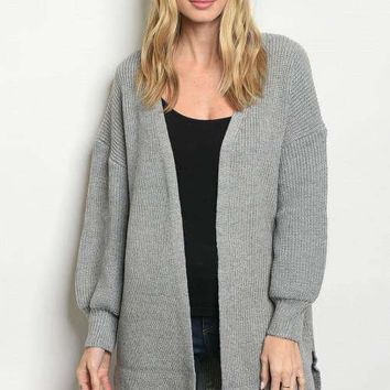 Frayed Hem Sweater Cardigan - Grey