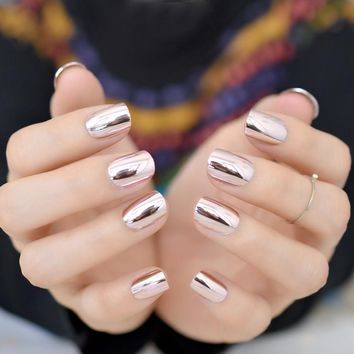 Pink Metallic Fake Nails Short Full Cover Mirror Salon False Nail Art Tips for Women Decoration without Glue Sticker N24