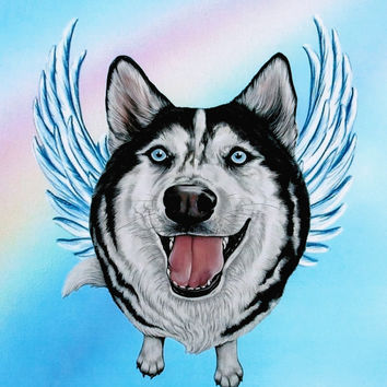 Siberian Husky Angel - Husky Art Print - Huskies - Dog Angels - Guardian Angels - Pet Memorial - Rainbow Bridge - Weeze Mace - 8x10