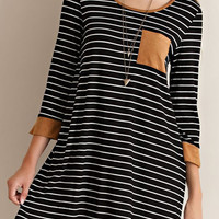 Black and White Striped Dress with Suede Trim