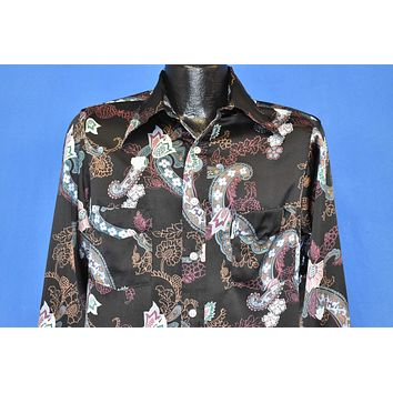 70s Paisley Floral Big Collar Western Disco Shirt Small