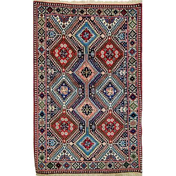 Oriental Yalamah Persian Wool Tribal Rug, Pink/Blue