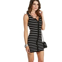 Black Show You Striped Sweater Dress