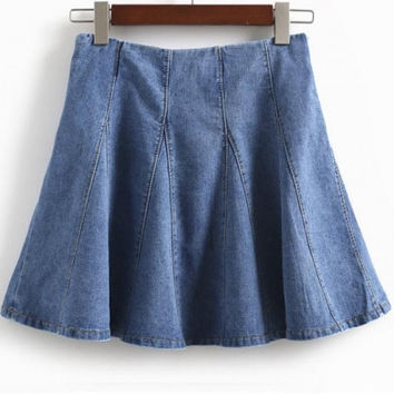 Women's Fashionable A-line High Waist Pleated Mini Denim Skirt