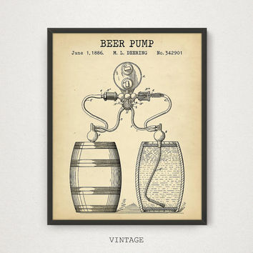 Beer Poster Printable, Beer Pump Patent Poster, Digital Files, Beer Art, Beer Illustration, Kitchen Decor Man Cave Art Alcohol Liquor Barrel