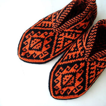 knit slippers, Orange and Black Traditional knitted Turkish slippers Socks house shoes, womens slippers, crochet slippers, gifts for her