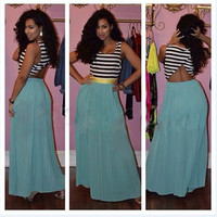 Sleeveless Stripe Spliced Semi Sheer Maxi Dress