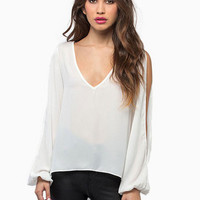 White V-Neck Long Cuff Sleeve Cut-Out Back with Crochet Patchwork Blouse