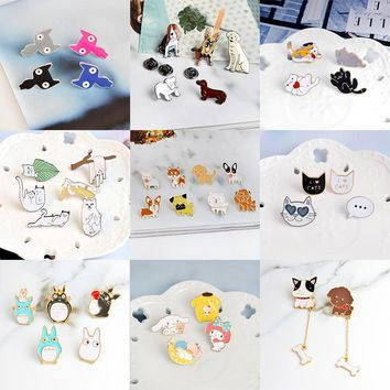 Trendy Miss Zoe 2~8pcs/set Cat Dog Hippo Kitten Puppy Totoro Brooch Button Pins Denim Jacket Pin Badge Animal Jewelry Gift for Kids AT_94_13