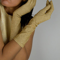 Gold Metallic Gloves, Vintage Gloves, Gold, Gloves, Holiday Gloves, 50's Fashions, Party Gloves, Long Gloves, Evening Gloves, Formal Gloves
