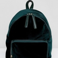 Glamorus Emerald Velvet Backpack at asos.com