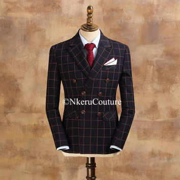 Includes  Jacket and Trousers Nkeru Couture Fashion wedding quality slim double breasted Suit W778