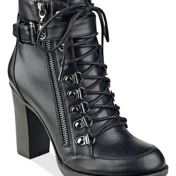 G by GUESS Grazzy Lace-Up Booties - Boots - Shoes - Macy's