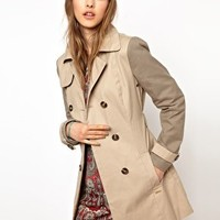 Pepe Jeans London Trench Coat With Contrast Sleeves at asos.com