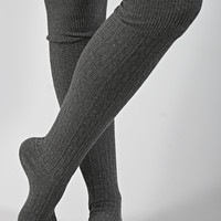 cable knit knee high sock - charcoal