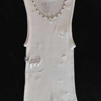 Punk Rock Lies Cutoff Studded, Pinned & Distressed Tank 007 - White
