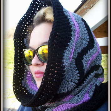 Hooded Cowl, Chevron Scoodie, Chevron Hooded Scarf, Crochet Cowl, Circle Scarf
