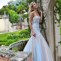 Sherri Hill 11155 Sheer Corset Mermaid Prom Dress