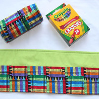 Crayon Roll Crayons, Crayon Holder, Birthday Party Favor, 16 Crayola Crayons Included