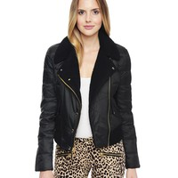 Shearling Puffer Moto Jacket by Juicy Couture