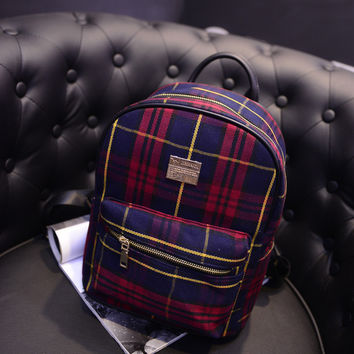 Comfort College Stylish On Sale Back To School Hot Deal Crown Plaid Korean Casual Lovely Backpack [6581805959]