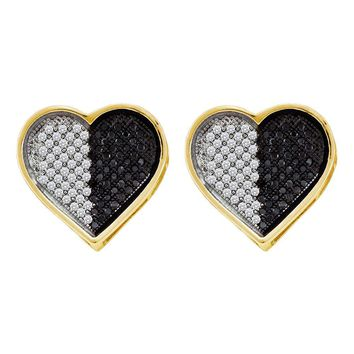 10kt White Gold Womens Round Black Color Enhanced Diamond Heart Screwback Earrings 1/4 Cttw