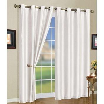 "5 Colors- Mira Grommet Window Curtain Panels 58x108"" Color: Green"