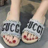 GUCCI Summer New Shining Diamond Letter Flat Slippers sandals Silver
