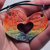 Friendship necklaces Set of 2 Friendship Quote heart Butterfly and dandelion rainbow H50